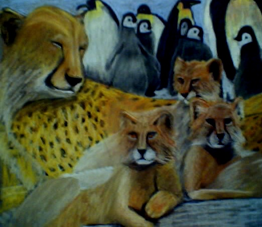 Cheetah and Penquins; Actual size=180 pixels wide